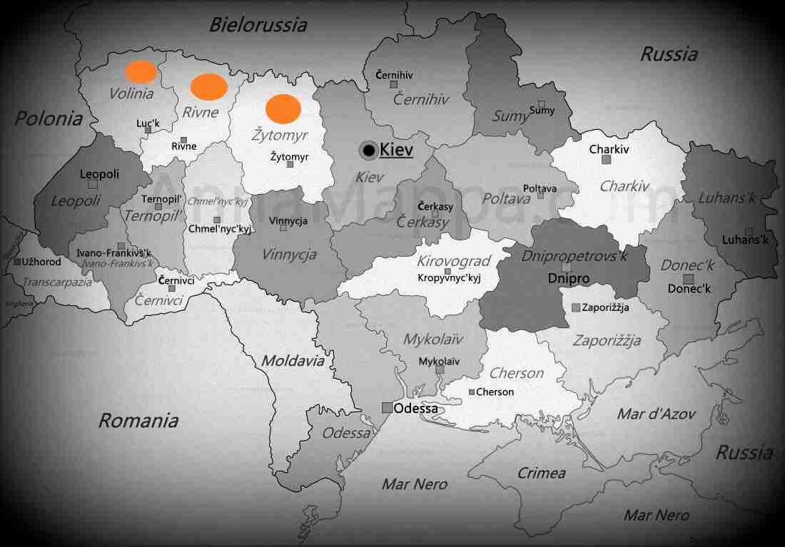 La mappa dell'Ucraina